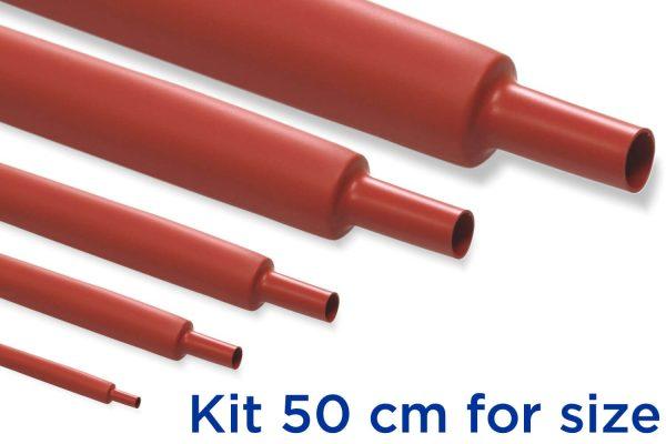Custom KR1 - Kit Guaina Termorestringente 50 cm Rosso 2:1 - dimensioni da 1 a 20 mm