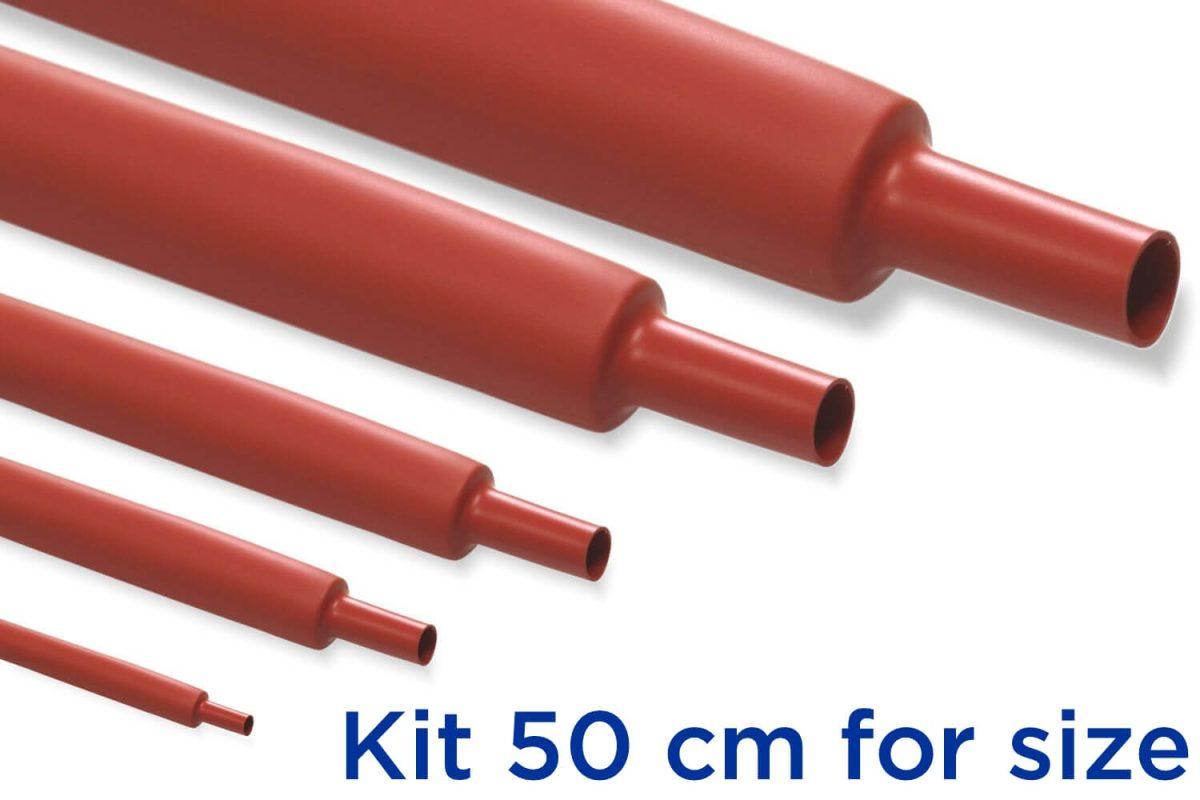 Custom KR2 - Kit Guaina Termorestringente 50 cm Rosso 2:1 - dimensioni da 22 a 30 mm