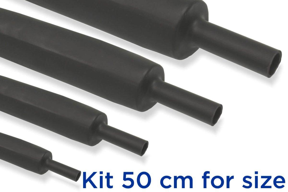 Custom KB3 - Kit Guaina Termorestringente 50 cm Nero 3:1 - dimensioni da 3 a 39 mm